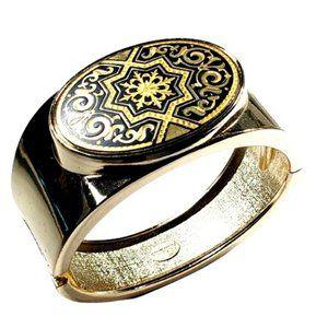 Anframa Damascene Gold Tone Handcrafted Hinged Ban